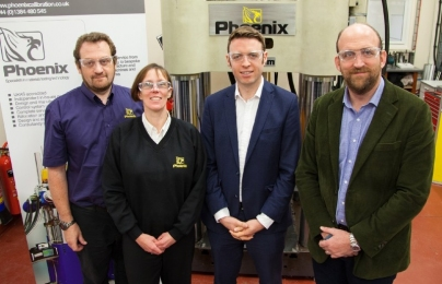 Left to Right:  Darren Wilkes (Technical Director, Phoenix ), Vicki Wilkes (Managing Director, Phoenix), Kevin McGuigan (Finance Director, Rubery Owen), Richard Jenkins (Executive Chairman, Rubery Owen)